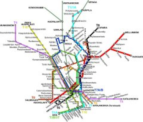 Helsinki Public Transportation Map