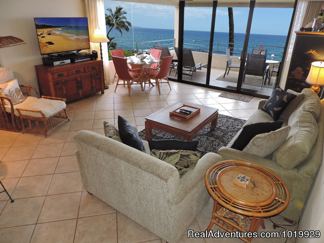 Unit 204 Living Room - Polo Beach 2-4 Bd beachfront-Wailea, Makena, Maui