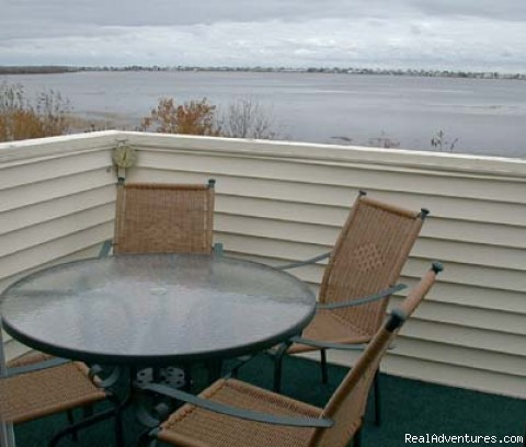 Private Deck at high tide view - Wells ME vacation 2 BR condo suite rental