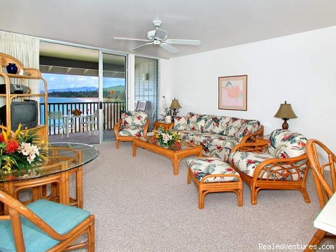Living Room - Breathtaking Oceanfront Condos in Kapaa