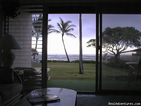 Ocean view from living room - Kapaa Shore Resort
