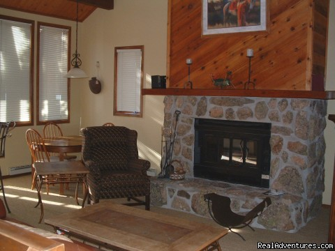 Great Room with Stone Fireplace - Townhouse with Private hot tub at Kings Crossing