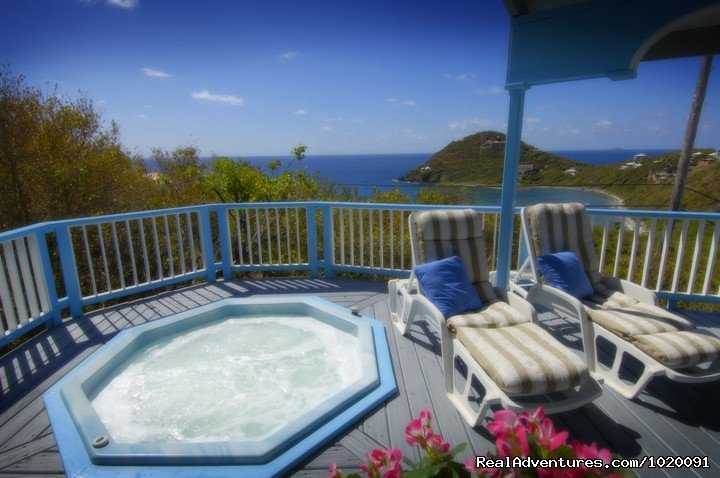 Moonsong: A charming Caribbean style hideaway overlooking the coral strewn aqua waters of Hart Bay, on the SW corner of unspoiled St. John. Only a short walk to a good snorkeling beach, rarely frequented by other islanders. Enjoy spectacular sunshine