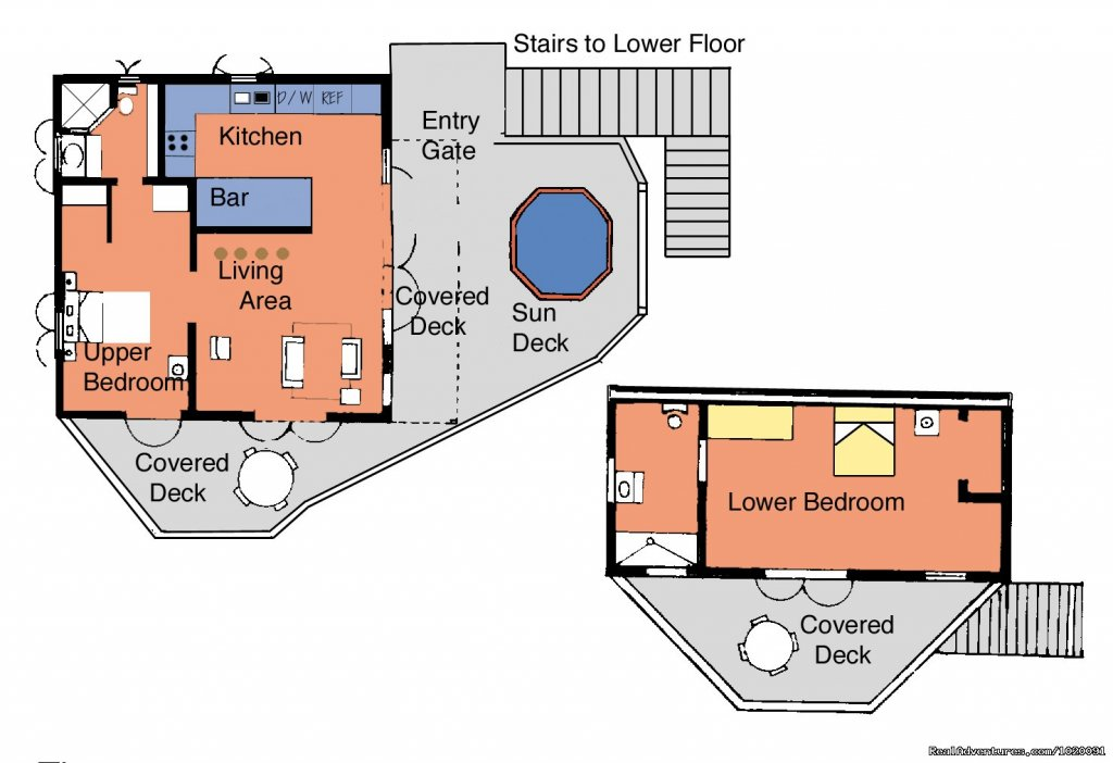 Floor Plan | Image #13/19 | Charming 2 Bed/2 Bath Villa with Hot Tub and Views