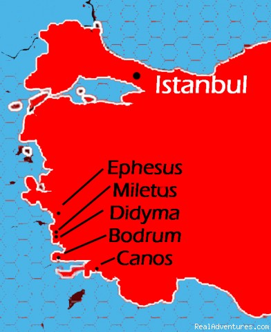 Turkish Coast Map - Turkey Sailing Blue Voyages & Blue Cruises