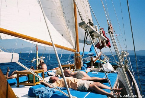 Relaxing under sails - Turkey Sailing Blue Voyages & Blue Cruises