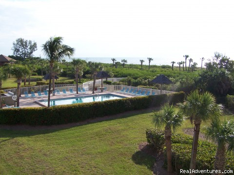 Sandpiper Beach Rental with Tennis Court & Pool: Lanai view of pool: sanibel florida vacation rentals sanibel
