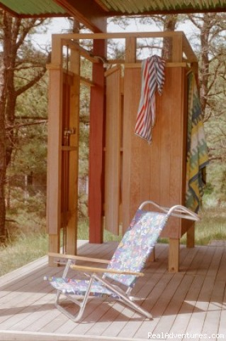 Main House enclosed outdoor shower - The Laurel, a 2BR and or 1BR Guest House