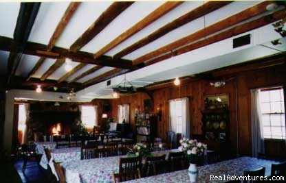 Dining Hall with fireplace - Friendly Crossways Retreat & Wedding Venue