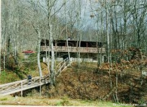 Pondview deck to Pond - Smoky Mountain Log Cabin Vacation Rentals