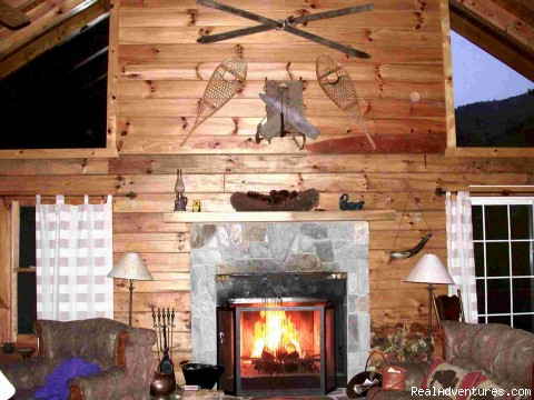 Creekside's Log Cabin Stone Fireplace - Smoky Mountain Log Cabin Vacation Rentals