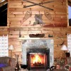 Creekside's Log Cabin Stone Fireplace