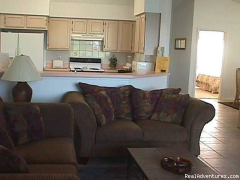 Family Room & Kitchen - Lakeside Vacation Home Near Disney