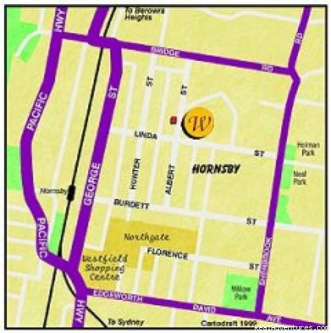 location map - Hornsby Serviced Apartments, Sydney