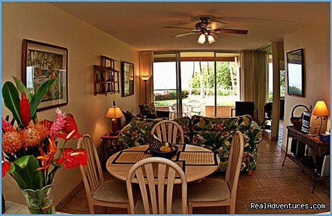 Condo dining and living room - Ocean Breeze Hideaway--Maui B&B & Oceanfront Condo