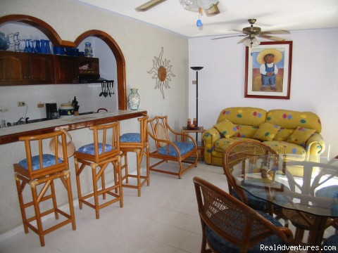 Living Room - Cancun Area - Ocean Front, Pool Side Condo Rental