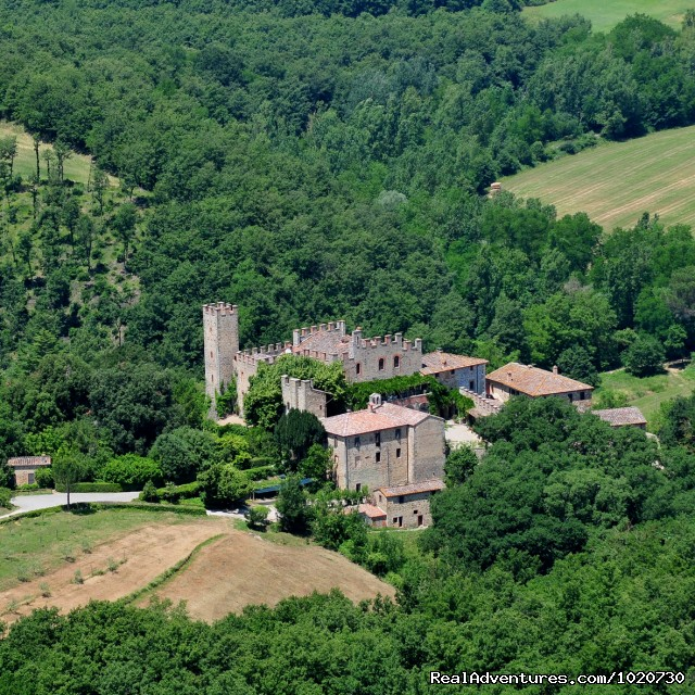 Aerial view from SouthEast - Vacation villa rental Tuscany Italy castle