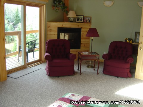 Woodrush Fallsview Suite Sitting Area infront of Fireplace - Sunny Rock Bed & Breakfast Haliburton Highlands ON