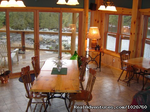 Sunny Rock B&B,, Breakfast Nook Overlooking Scotts Dam Falls - Sunny Rock Bed & Breakfast Haliburton Highlands ON