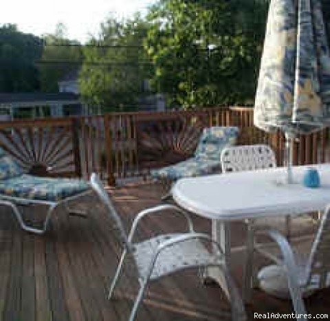 Deck at Naughty Pine Room - Ogunquit Beach Inn, B&B Ogunquit Maine in village