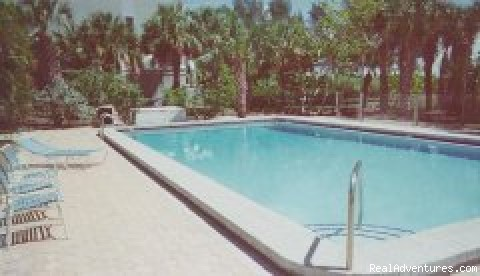 The heated pool is private and secluded. -  Gulffront Luxury Vacation Condo on Sanibel Island