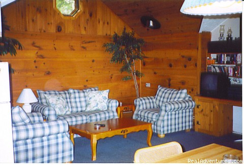 Country style living room where you can see your child swim - Embden Lake Cottages