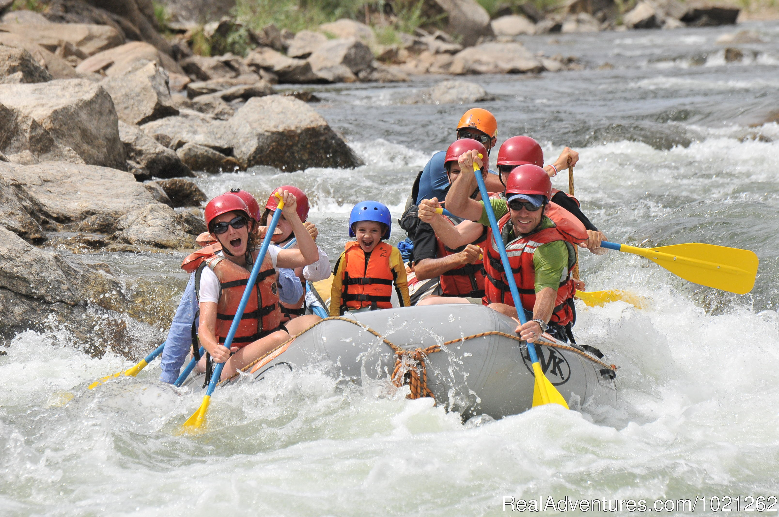 Family rafting on the Arkansas river Browns Canyon