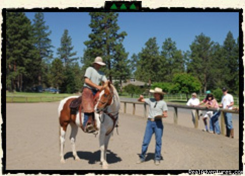 The week begins with riding instruction - Rock Springs Guest Ranch