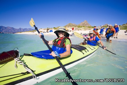 Happy Kayakers in sunny Baja! - Sea Kayak Vacations & Whale Adventures in Baja/BC