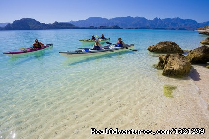Sea Kayak Vacations & Whale Adventures in Baja/BC Sea of Cortez - turquoise water & white sand