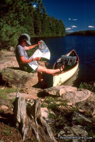 Reading over the route map - Wilderness canoe trips with Voyageur North Ely MN