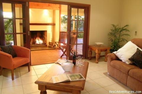 The Summit Rainforest Retreat open fireplace - Cairns Highlands Accommodation & Itineraries