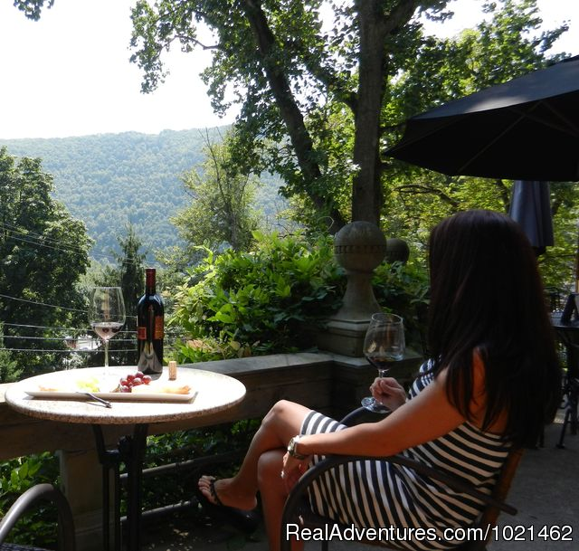 Wine and cheese on the veranda - The Harry Packer Mansion Inn