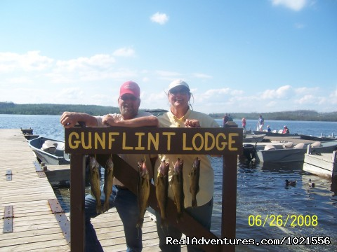 Proud fishermen with a nice catch - Gunflint Lodge-family vacations in northeast MN