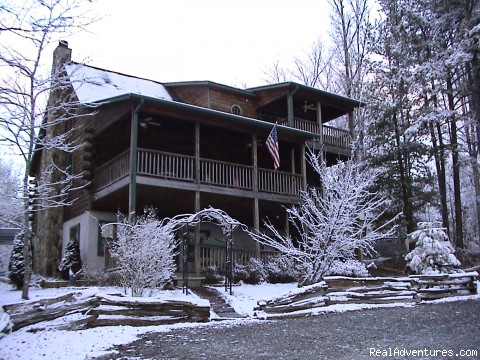 Main House in Winter - Luxury Log Cabin Rentals with Hot Tub