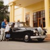 Guests and the Daimler at Chateau Barrosa