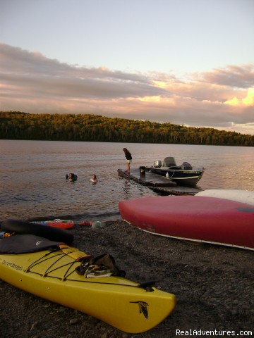 Summer fun on our private, pebbly beach! - Traditional Maine Vacations at Fish River Lodge