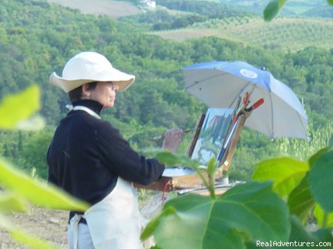 Painter in our backyard - Il Chiostro Tuscan Country Cooking