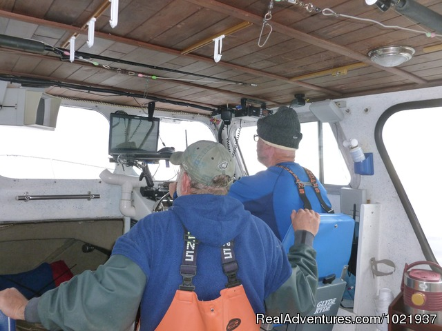Captain Brent driving Peggy N Me - Fantastic Deep-Sea Fishing in Alaska