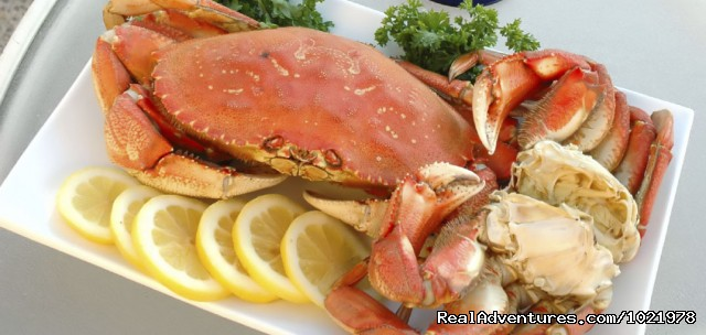 Delicious Dungeness Crab Dinner Served On Board - Chuckanut Crab Dinner Cruise From Bellingham