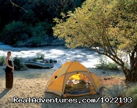 Tuolumne river overnight campsight - California River Rafting near Yosemite
