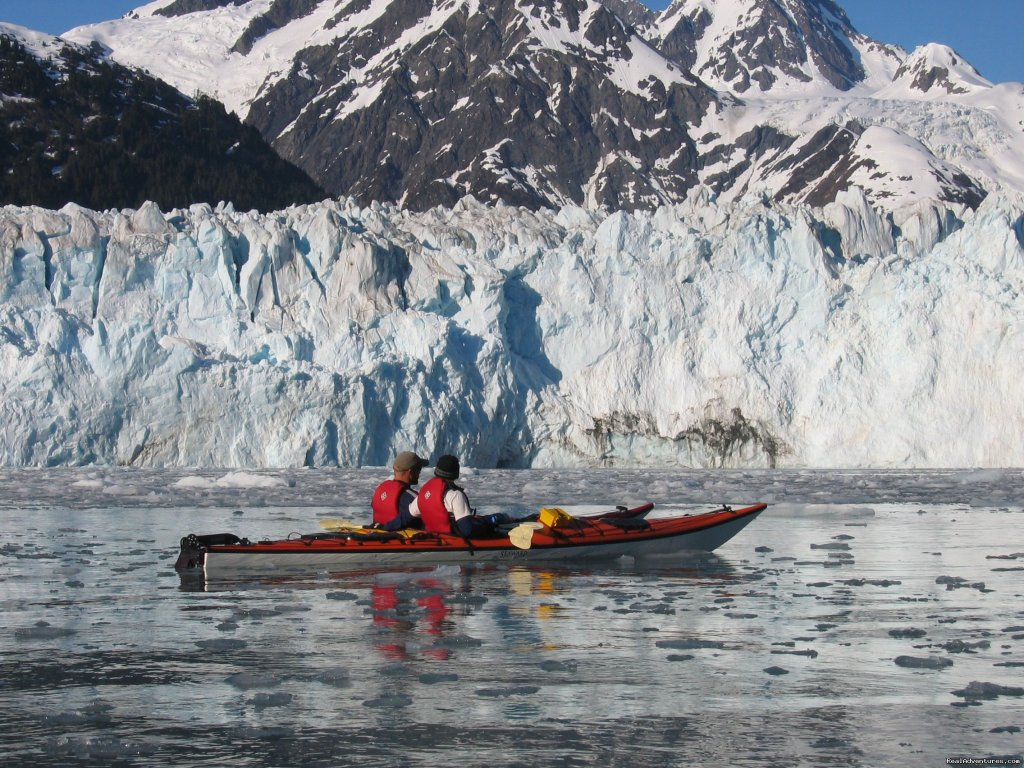 Witness the remote and advancing Mears Glacier. | Image #5/8 | Alaska Sea Kayaking with Pangaea Adventures