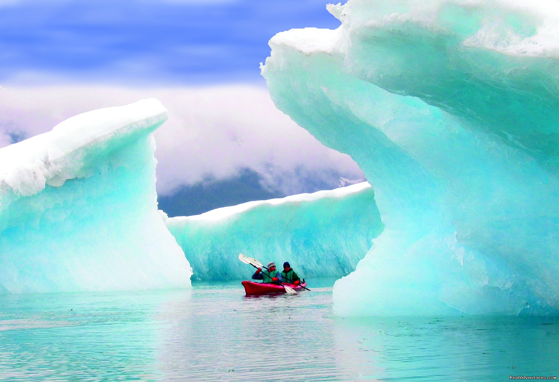 Kayak amongst the icebergs of the mighty Columbia Glacier