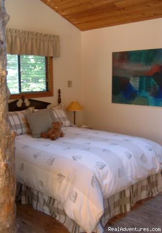 upstairs bedroom area, quality linens - A West Wind, Tofino