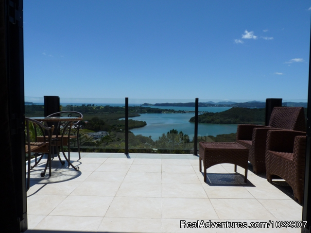 Kings Retreat Suite deck - Crisdon Castle views over the Bay of Islands