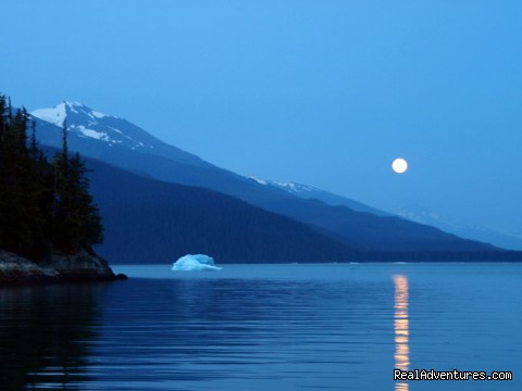 Full Moon Rising Over Tracy Arm - Alaska Yacht Charters Aboard Alaskan Song