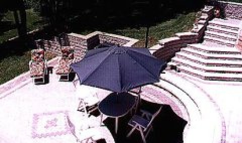 Lower stone patio, sunbathing, BBQ - Gold River Estate Bed and Breakfast