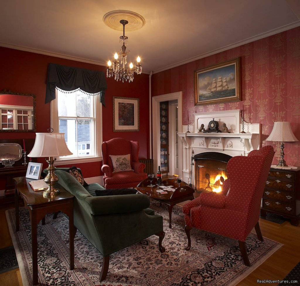Maine Stay Living room fire | Image #17/18 | Maine Stay Inn - Premier Kennebunkport B&B