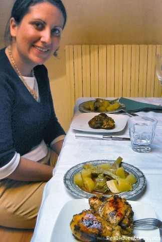 Rachel and the meal she and her partner made - Cook Italy