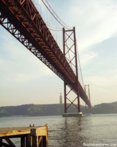 Suspension bridge over Tagus  (TEJO) river in Lisbon - Lisbon Tours by Air-conditioned SUV
